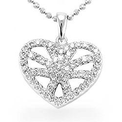 Fint hjerte anheng i sølv