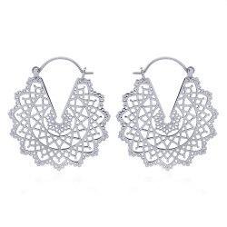 Stor rund mønstret ear lines i sølv