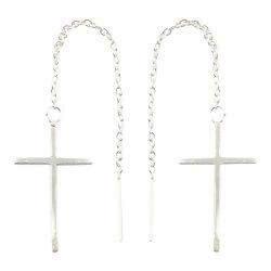 Lange kors ear lines i sølv