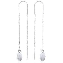 Lange ovale ear lines i sølv