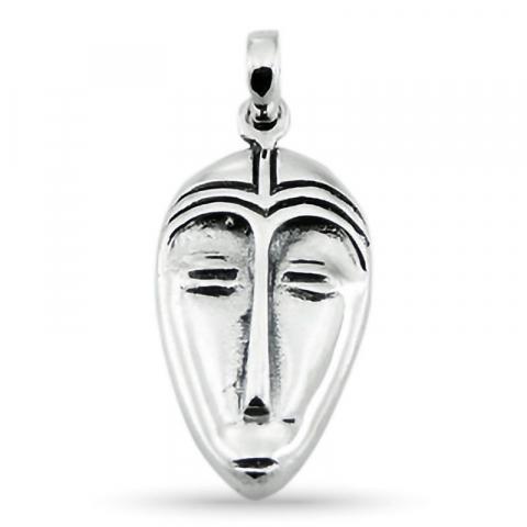 Ovalt maske anheng i sølv