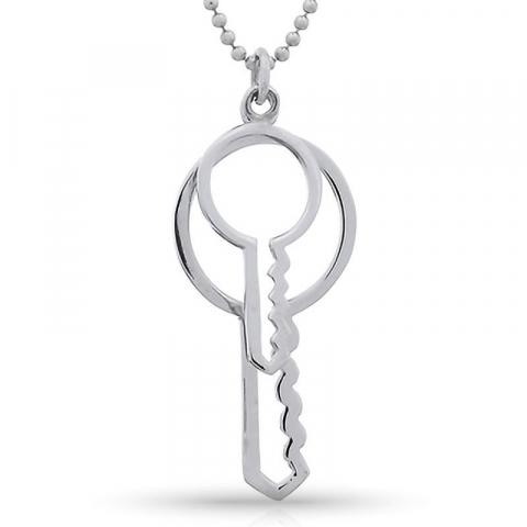 Dobbelt nøkkel anheng i sølv