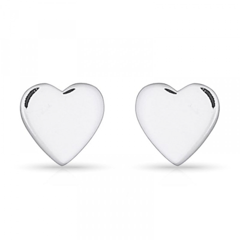 Pene hjerte ørestikker i sølv