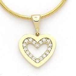 Hjerte hvit zirkon anheng i 14 karat gull