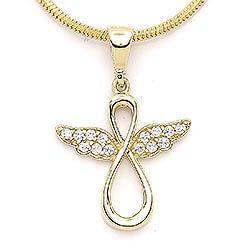 Infinity engel zirkon anheng i 14 karat gull