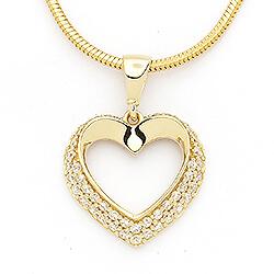 Tøft hjerte anheng i 14 karat gull