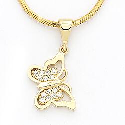 Tøft sommerfugl anheng i 14 karat gull