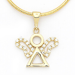 Søtt engel hvit zirkon anheng i 14 karat gull