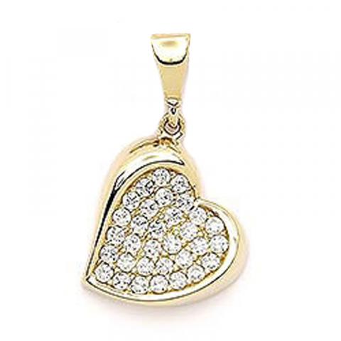 Vakkert hjerte anheng i 14 karat gull