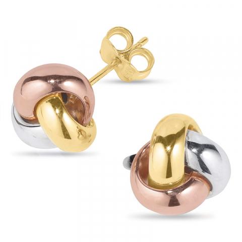 Abstrakt øredobber i 14 karat hvitt gull med 14 karat rosa med 14 karat gull