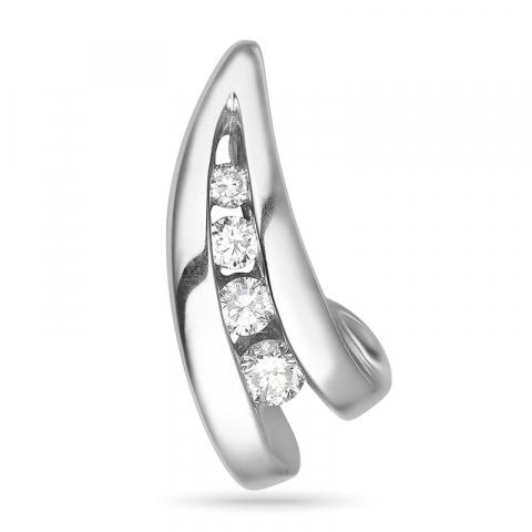 Diamant anheng i 14 karat hvitt gull 0,14 ct
