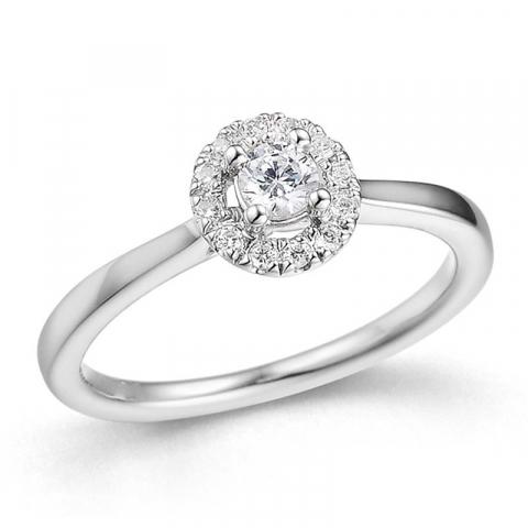 vakker diamantring i 14 karat hvitt gull 0,25 ct