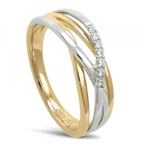 Vakker abstrakt diamant ring i 14 karat gull og hvitt gull 0,045 ct