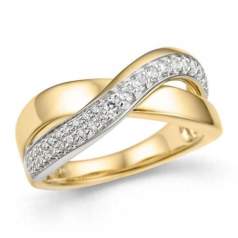 abstrakt diamantring i 14 karat gull og hvitt gull 0,30 ct