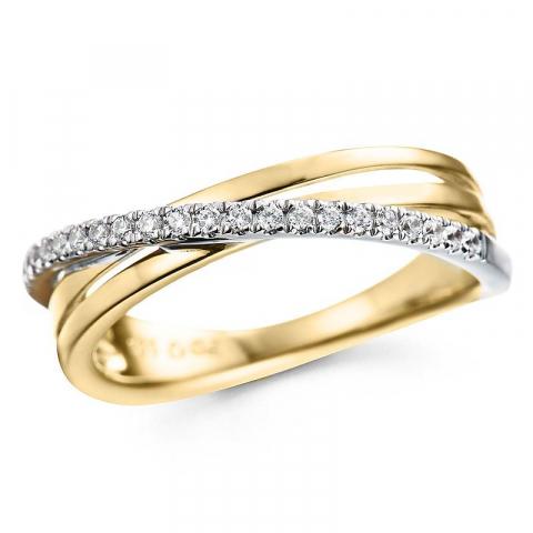 abstrakt diamantring i 14 karat gull og hvitt gull 0,15 ct