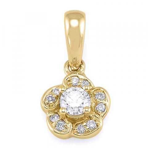 Fint blomst diamantanheng i 14 karat gull 0,12 ct 0,04 ct