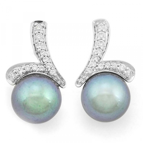 Nydelige perle diamantøredobb i 14 karat hvitt gull med diamanter