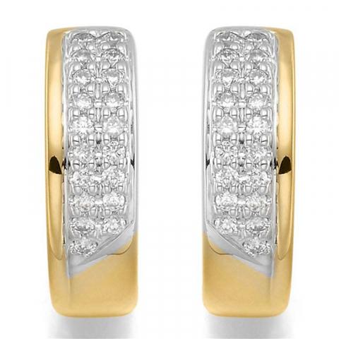 Nydelige 14 mm diamant creol i 14 karat gull og hvitt gull med diamanter