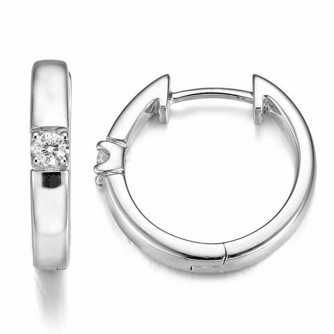fin 17 mm diamant creol i 14 karat hvitt gull med diamant