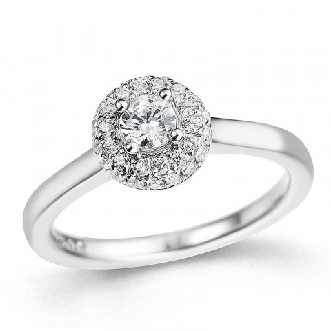 Vakker diamantring i 14 karat hvitt gull 0,26 ct 0,24 ct