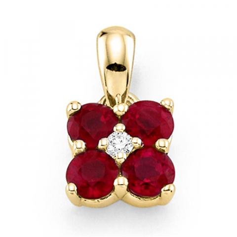 Søtt firkantet rubin anheng i 14 karat gull 0,015 ct