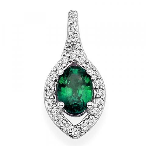 Fint ovalt grønn smaragd anheng i 14 karat hvitt gull 0,2 ct