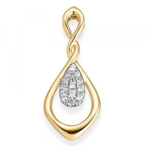 Vakkert diamant anheng i 14 karat gull og hvitt gull 0,16 ct