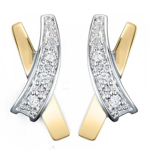Moderne diamant ørestikker i 14 karat gull og hvitt gull med diamanter