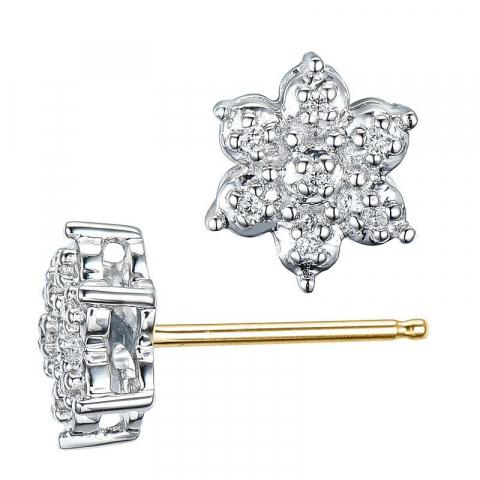 Nydelige stjerne diamant ørestikker i 14 karat gull og hvitt gull med diamanter