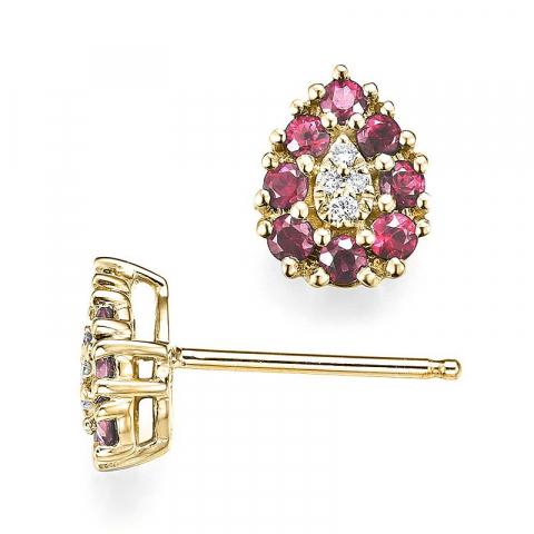 Dråpe rubin diamantøredobb i 14 karat gull med diamanter og rubiner