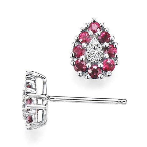 Dråpe rubin diamantøredobb i 14 karat hvitt gull med diamanter og rubiner