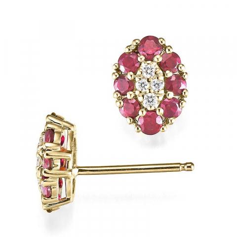 vakre rubin diamantøredobb i 14 karat gull med diamant og rubin