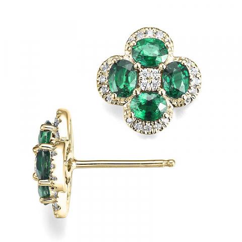 Blomst diamantøredobb i 14 karat gull med diamanter og smaragder