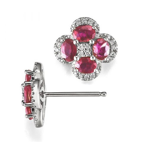 Blomst rubin diamantøredobb i 14 karat hvitt gull med diamanter og rubiner