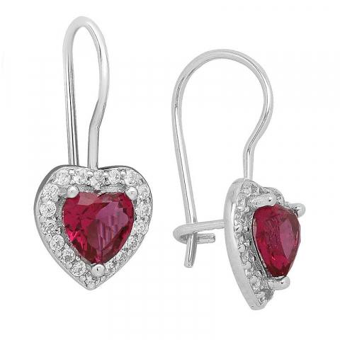 Søte hjerte øredobber i sølv