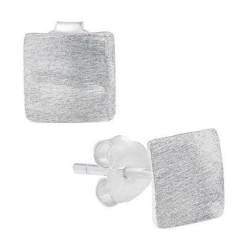 Nydelige firkantet ørestikker i sølv