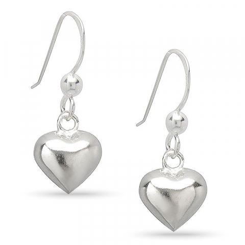 Lange hjerte øredobber i sølv