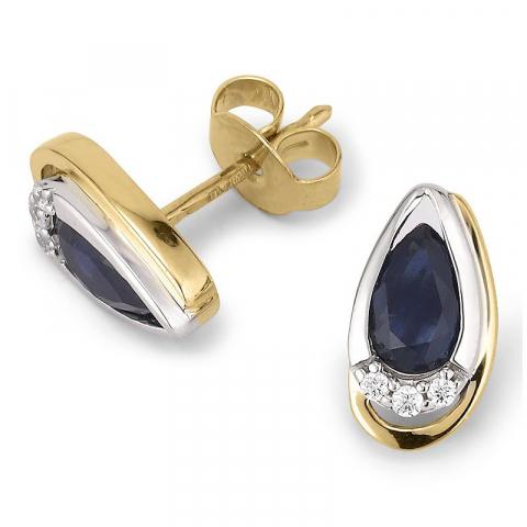 Dråpeformede ørestikker i 9 karat gull og hvitt gull med safirer og zirkon