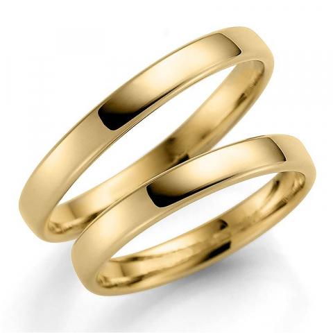 Nydelige 3 mm gifteringer i 14 karat gull - par