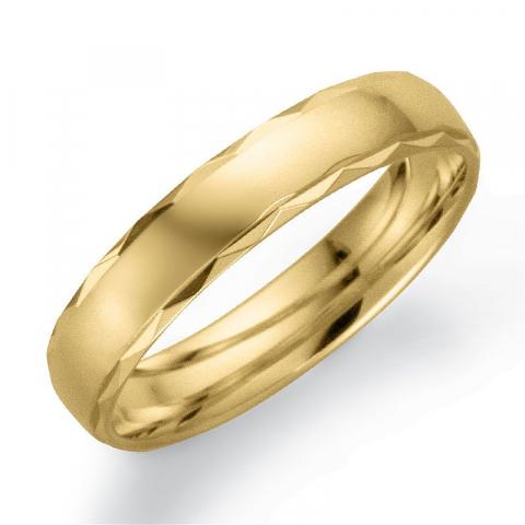 Mønstret 4 mm giftering i 9 karat gull