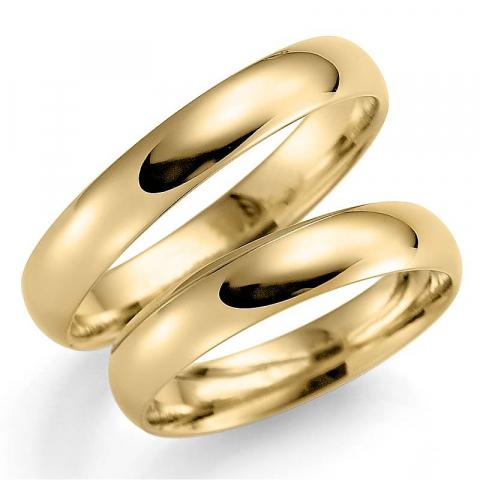 Nydelige 4 mm gifteringer i 9 karat gull - par