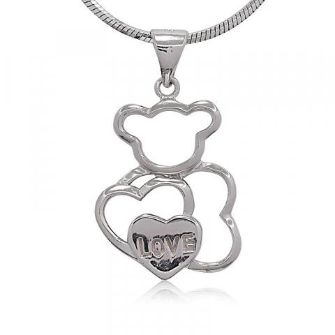 Hjerte bamse anheng i sølv