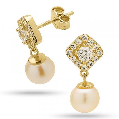 Klassiske perle øredobber i forgylt sølv