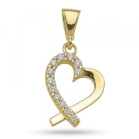Fint hjerte anheng i forgylt sølv