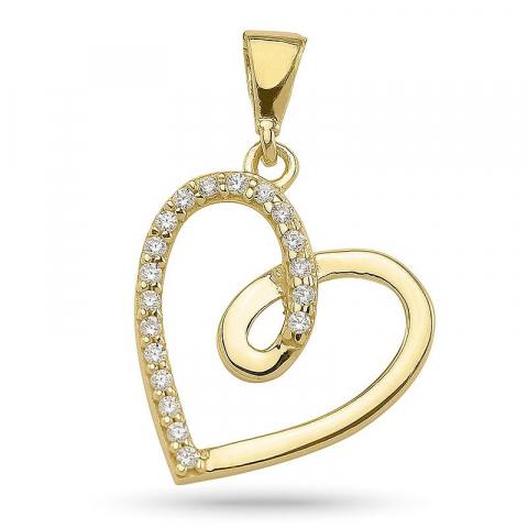 Simpelt hjerte anheng i forgylt sølv