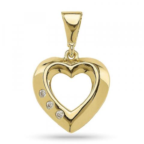 Søtt hjerte anheng i forgylt sølv
