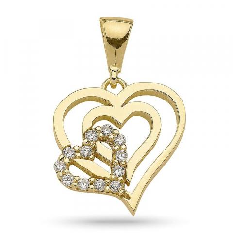 Lille hjerte zirkon anheng i forgylt sølv