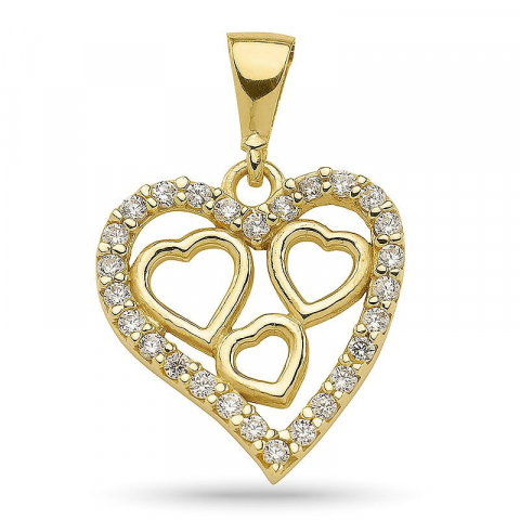 Moderne hjerte anheng i forgylt sølv