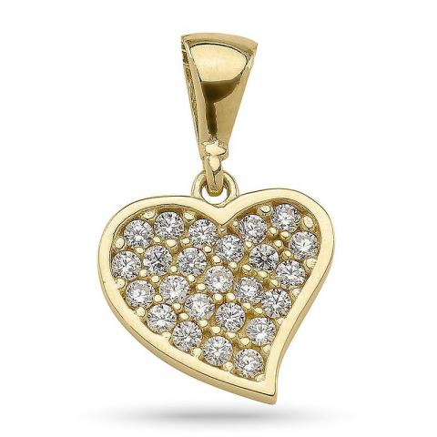 Lille hjerte anheng i forgylt sølv