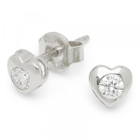 Søte hjerte øredobb i sølv